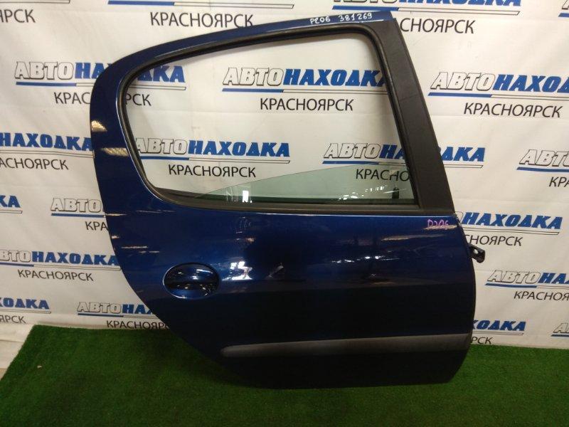 Дверь Peugeot 206 2A/C TU3JP 2003 задняя правая ХТС, задняя правая, в сборе, хэтчбек, синяя (EGE),