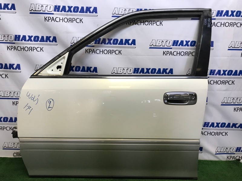 Дверь Toyota Crown GS171 1G-FE 1999 передняя левая передняя левая, белый перламутр, дефект хрома на