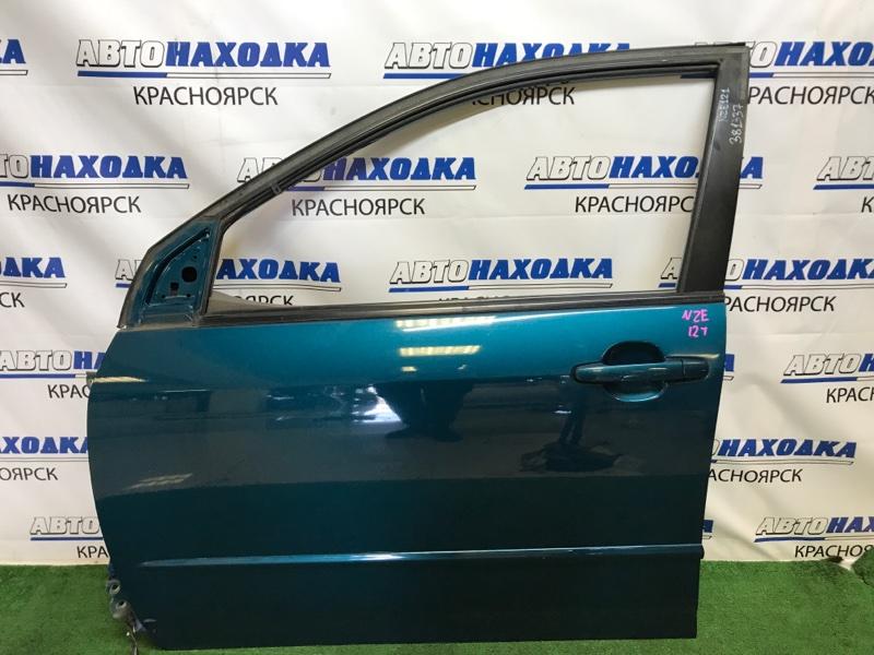 Дверь Toyota Corolla Fielder NZE121G 1NZ-FE 2000 передняя левая передняя левая, синяя (769), царапинки,