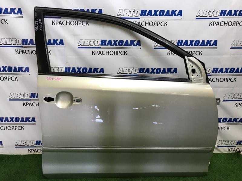 Дверь Toyota Premio ZZT240 1ZZ-FE 2001 передняя правая передняя правая, серебристая (1C0), без обшивки