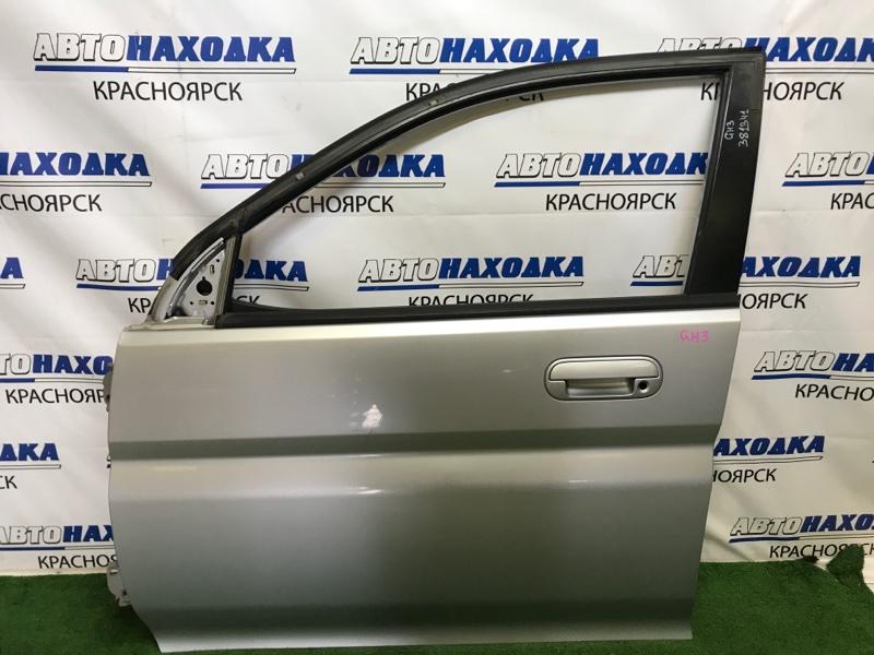 Дверь Honda Hr-V GH3 D16A 2001 передняя левая передняя левая, пятидверка, серебристая (NH623M), без
