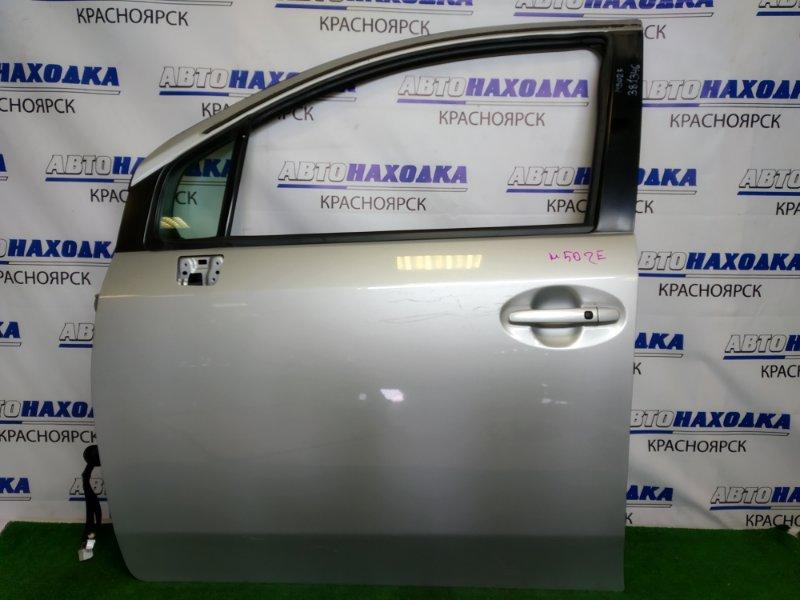 Дверь Toyota Passo Sette M502E 3SZ-VE 2008 передняя левая передняя левая, серебристая (1E7), царапинки,