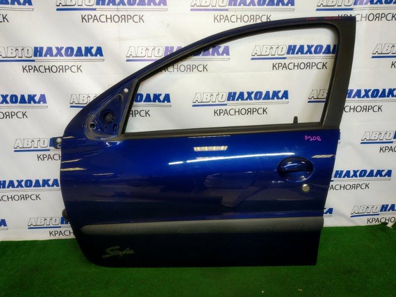 Дверь Peugeot 206 2A/C TU3JP 2003 передняя левая передняя левая, пятидверка, синяя (EGE), без стекла,