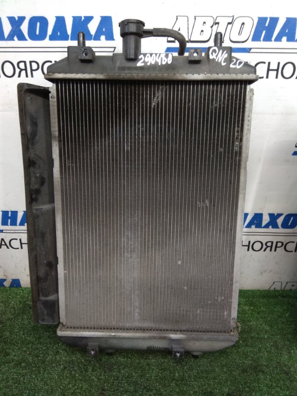 Радиатор двигателя Toyota Bb QNC20 K3-VE 2005 A/T, в сборе с диффузором, вентилятором, нет
