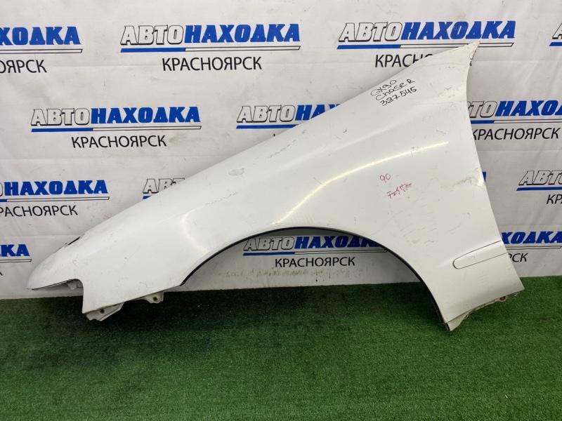 Крыло Toyota Chaser GX90 1G-FE 1992 переднее левое Переднее левое, белое, царапинки, потертости,