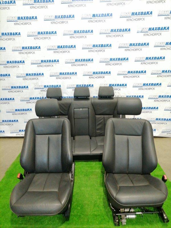 Сиденья Mercedes-Benz E430 W210 M113E43 1995 Комплект, передние + задний диван. Черная кожа,