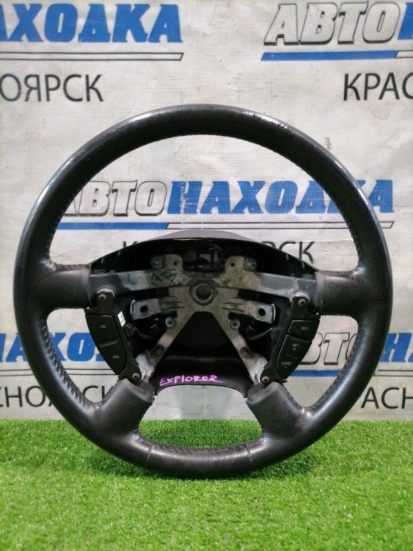 Руль Ford Explorer U152 COLOGNE V6 2001 Кожа, с кнопками, без Airbag, есть потертости.