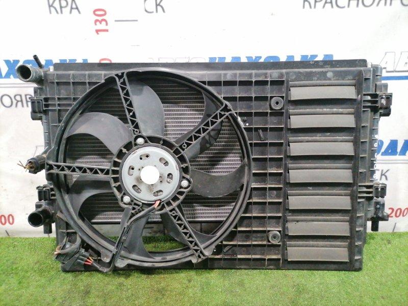 Радиатор двигателя Volkswagen Polo 6R1 CBZB 2008 передний С диффузором, вентилятором, датчиком.