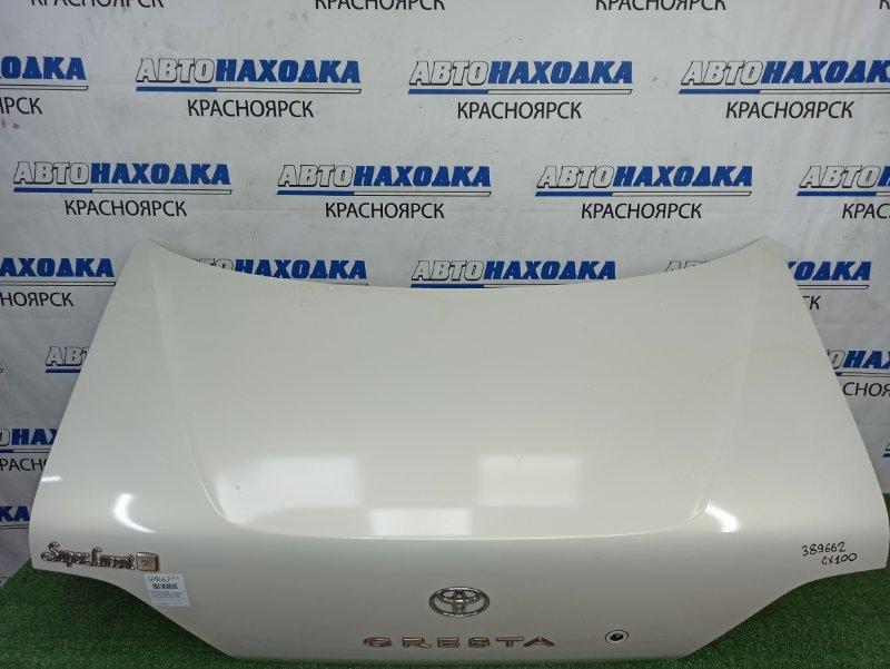 Крышка багажника Toyota Cresta GX100 1G-FE 1996 задняя в сборе, белый перламутр (057), без личинки,