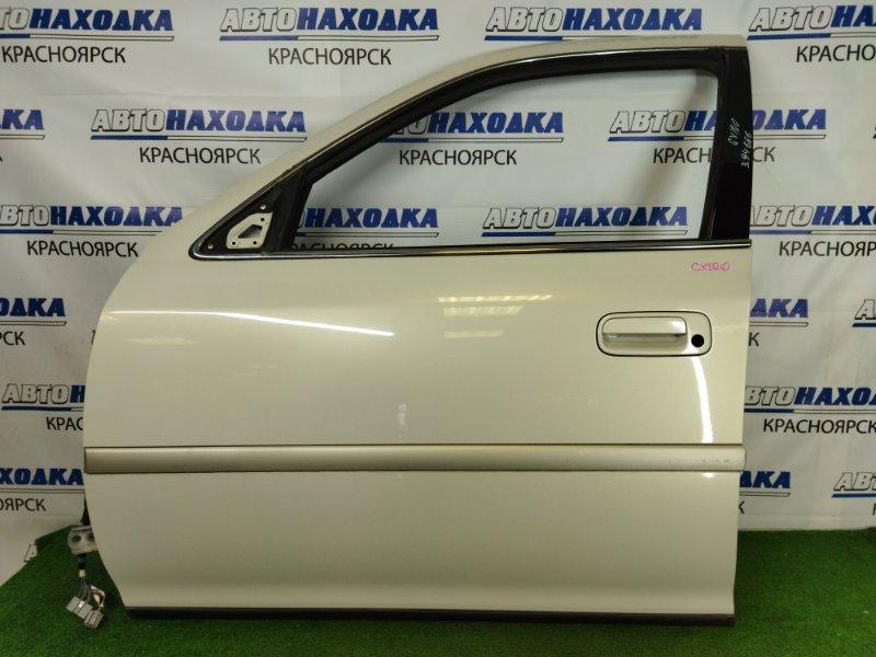 Дверь Toyota Cresta GX100 1G-FE 1996 передняя левая передняя левая, белый перламутр (057), без обшивки