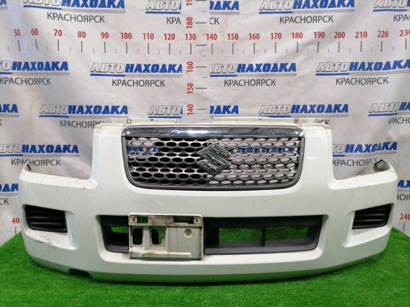 Бампер Suzuki Wagon R Solio MA34S M13A 2002 передний Передний, с решеткой, заглушками, рестайлинг (2