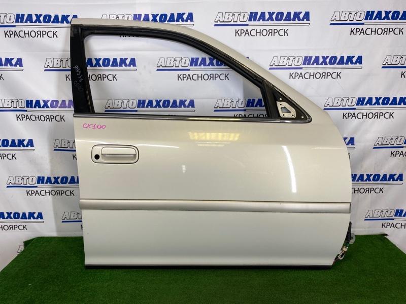 Дверь Toyota Cresta GX100 1G-FE 1996 передняя правая Передняя правая, белая (057), без обшивки и
