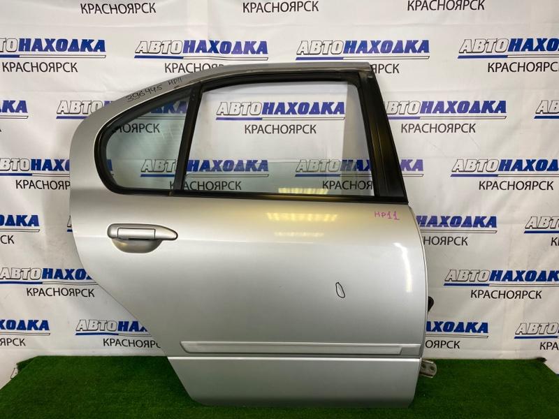 Дверь Nissan Primera HP11 SR20DE 1995 задняя правая Задняя правая, серебристая (KL0), в сборе, есть