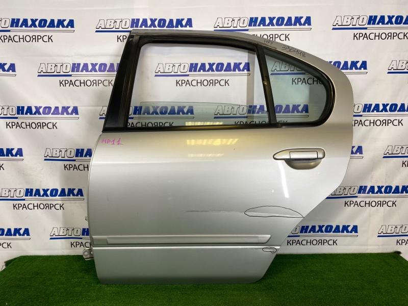 Дверь Nissan Primera HP11 SR20DE 1995 задняя левая Задняя левая, серебристая (KL0), в сборе, есть