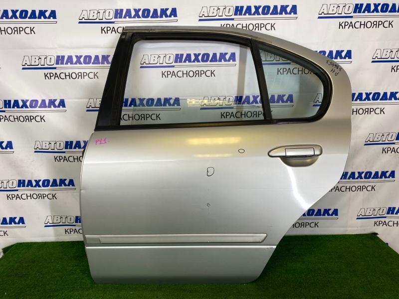 Дверь Nissan Primera P11 SR18DE 1995 задняя левая Задняя левая, серебристая (KL0), в сборе, есть