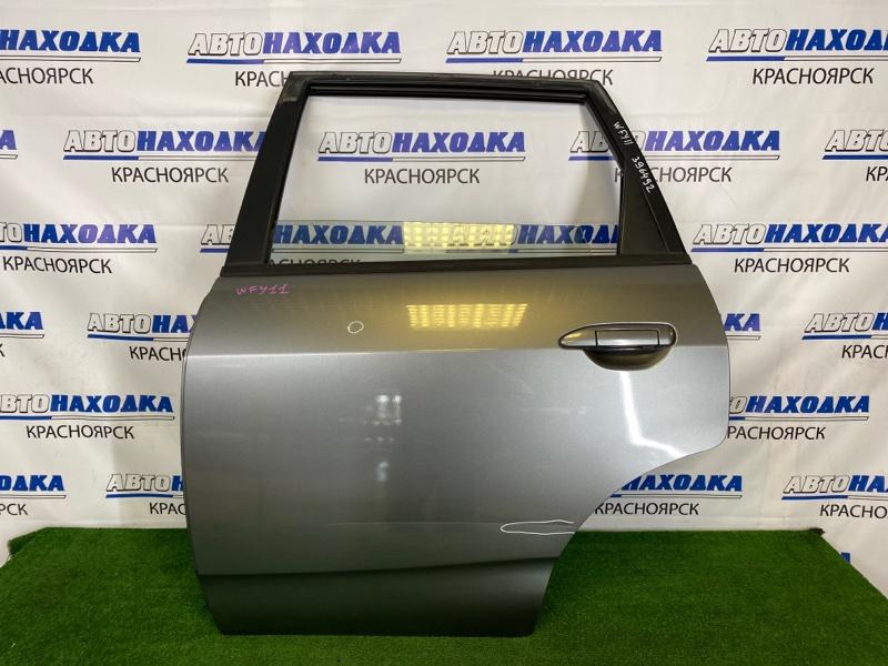 Дверь Nissan Wingroad WFY11 QG15DE 2001 задняя левая Задняя левая, серая (K21), в сборе, есть вмятинки,