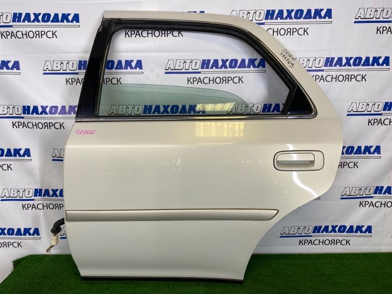 Дверь Toyota Cresta GX100 1G-FE 1996 задняя левая Задняя левая, белый перламутр (057), без обшивки,