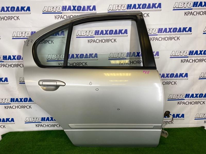 Дверь Nissan Primera P11 SR18DE 1995 задняя правая Задняя правая, серебристая (KL0), в сборе, есть