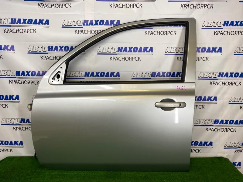 Дверь Nissan March AK12 CR12DE 2002 передняя левая Передняя левая, серебристая (KY0), 5-ти дверка, есть