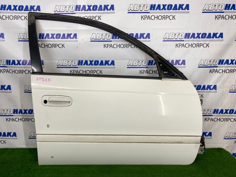 Дверь Toyota Caldina ST215G 3S-FE 2000 передняя правая Передняя правая, белая (040), без стекла, блока