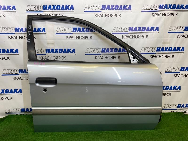 Дверь Toyota Corsa EL51 4E-FE 1997 передняя правая Передняя правая, серебристая (1A0), седан, без