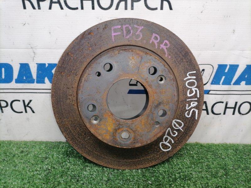 Диск тормозной Honda Civic FD3 LDA 2008 задний Задний, невентилируемый, диаметр 260мм, пробег 69