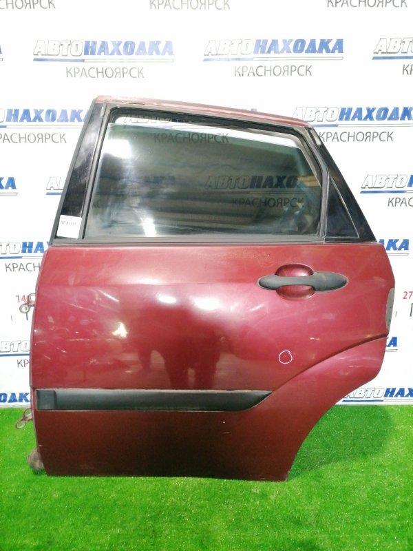 Дверь Ford Focus DFW FYDA 2004 задняя левая Задняя, левая, красная, седан, в сборе. Есть сколы,