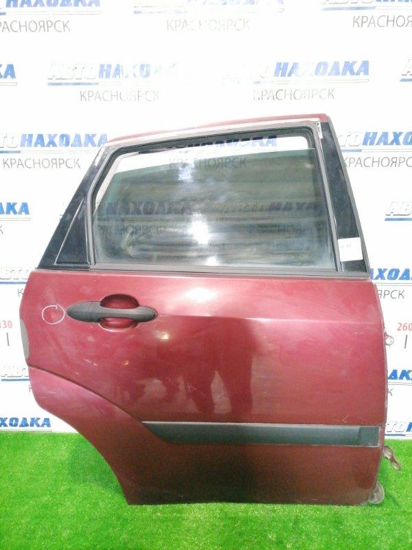 Дверь Ford Focus DFW FYDA 2004 задняя правая Задняя, правая, красная, седан, в сборе. Есть вмятина,