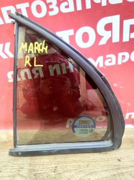 Стекло боковое Nissan March K13 HR12DE 2011 заднее левое форточка