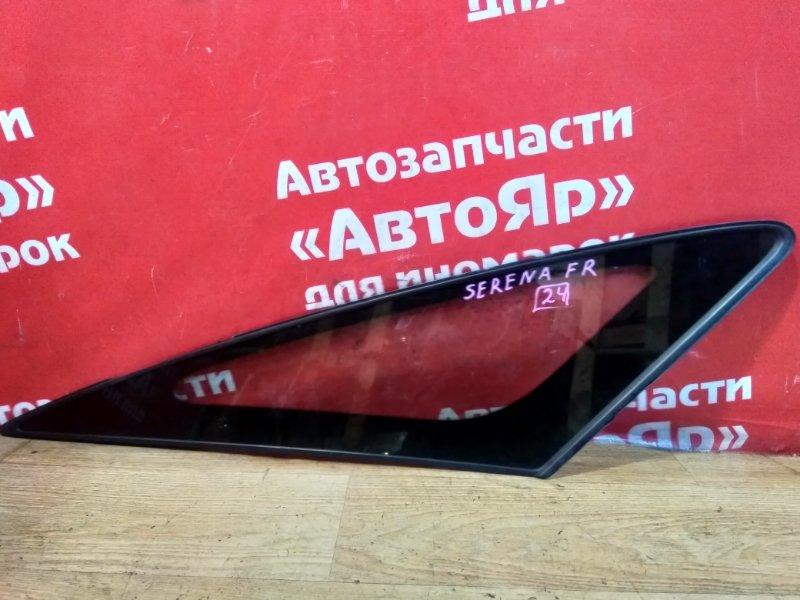 Стекло боковое Nissan Serena C26 MR20DD 08.2011 переднее правое Форточка, дефект уплотнителя.