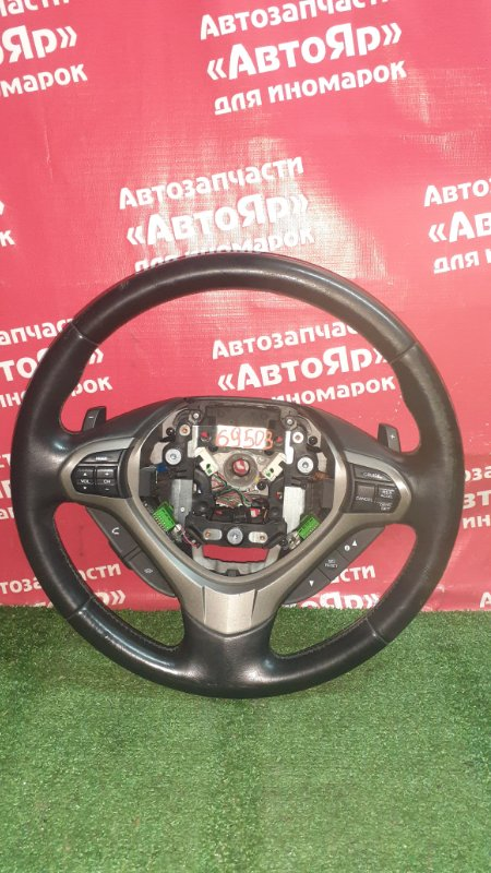 Руль Honda Accord CU2 K24A 2009 кожа, мультируль, лепестки, черный, состояние на фото
