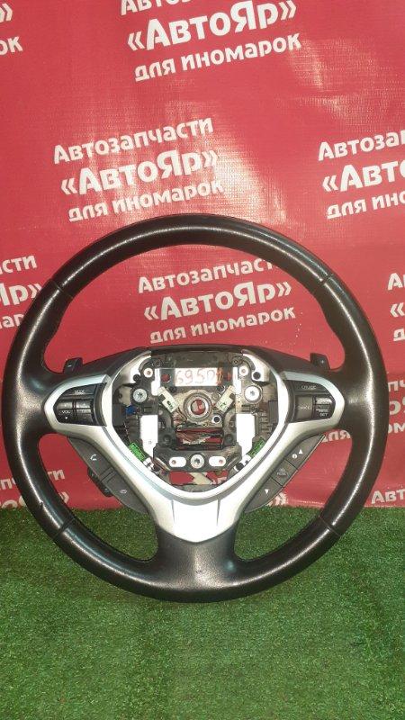 Руль Honda Accord CU2 K24A 2008 кожа, мультируль, лепестки, черный, состояние на фото