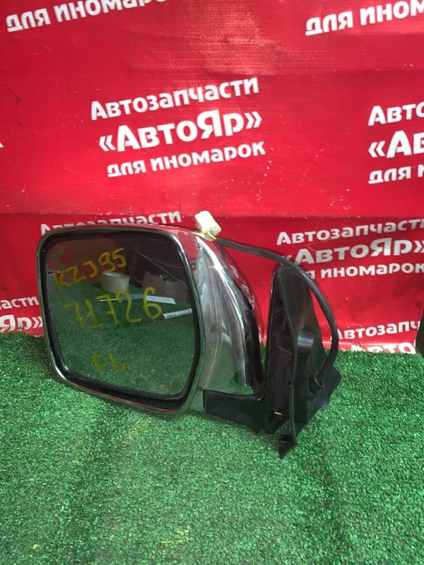 Зеркало Toyota Land Cruiser Prado KZJ95 1KZ-TE 1998 левое Хром, не оригинал, левый руль, 5 контактов, без