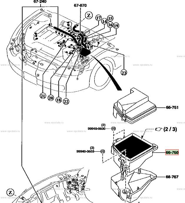 Блок предохранителей Mazda Capella GF8P, GFEP, GFER, GFFP,GW5R, GW8W, GWER, GWEW, GWFW FP 2001