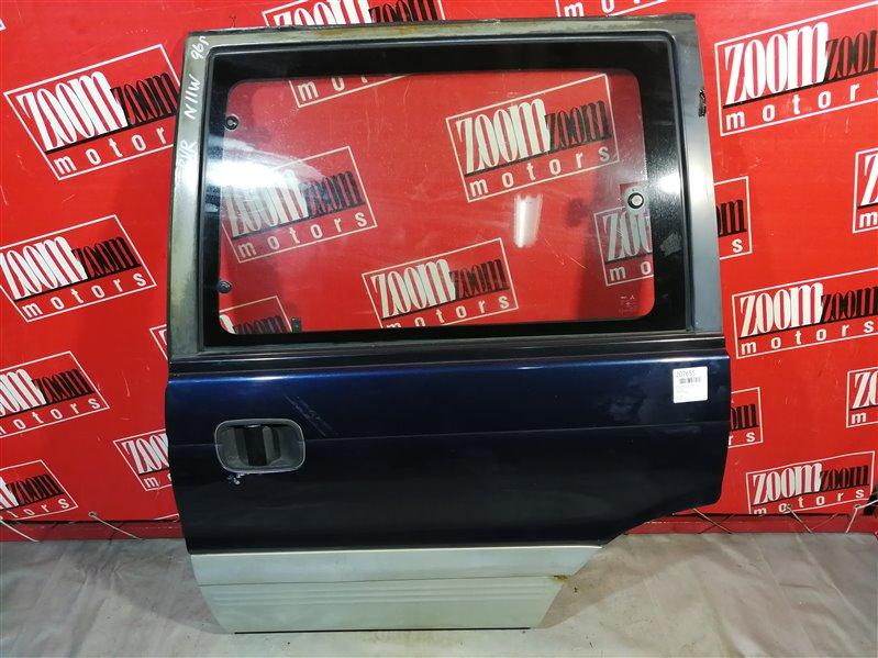 Дверь сдвижная Mitsubishi Rvr N11W 4G63 1991 задняя левая серо-синий