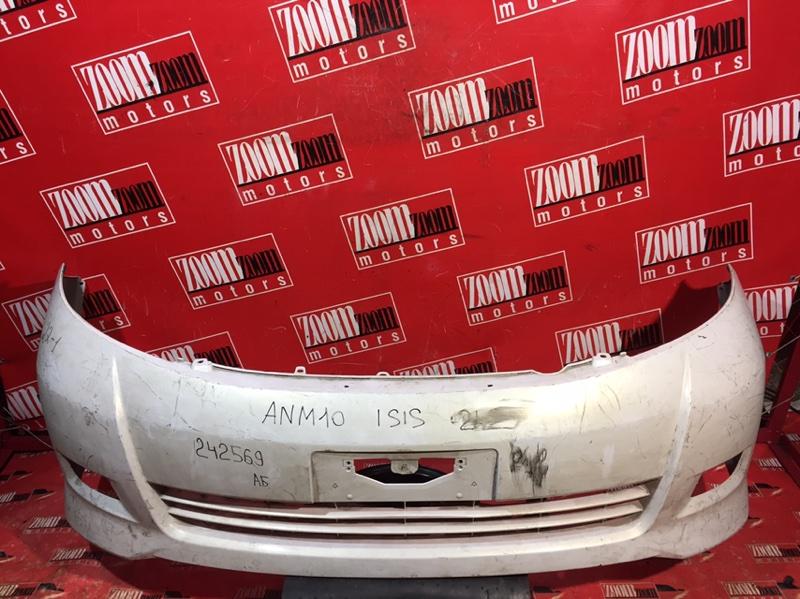 Бампер Toyota Isis ANM10 1AZ-FSE 2004 передний белый перламутр