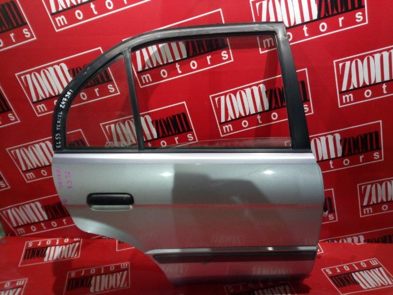 Дверь боковая Toyota Tercel EL53 5E-FE 1994 задняя правая голубой
