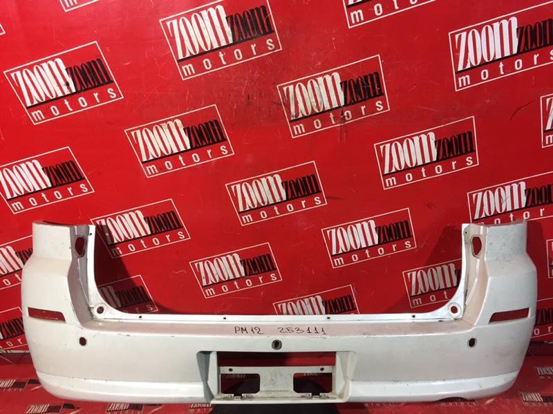 Бампер Nissan Liberty PM12 QR20DE 1999 задний белый перламутр