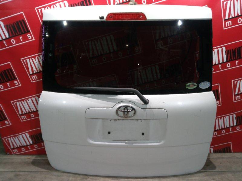 Дверь задняя багажника Toyota Sienta NCP81 1NZ-FE 2003 задняя белый перламутр