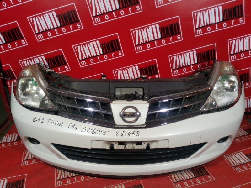 Nose cut Nissan Tiida C11 HR15DE 2008 передний белый перламутр
