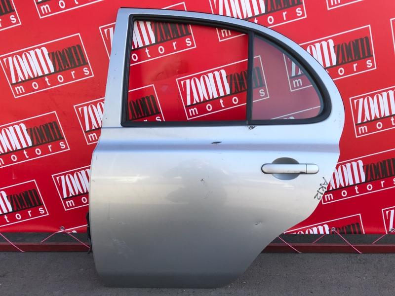 Дверь боковая Nissan March AK12 CR12DE 2002 задняя левая серебро