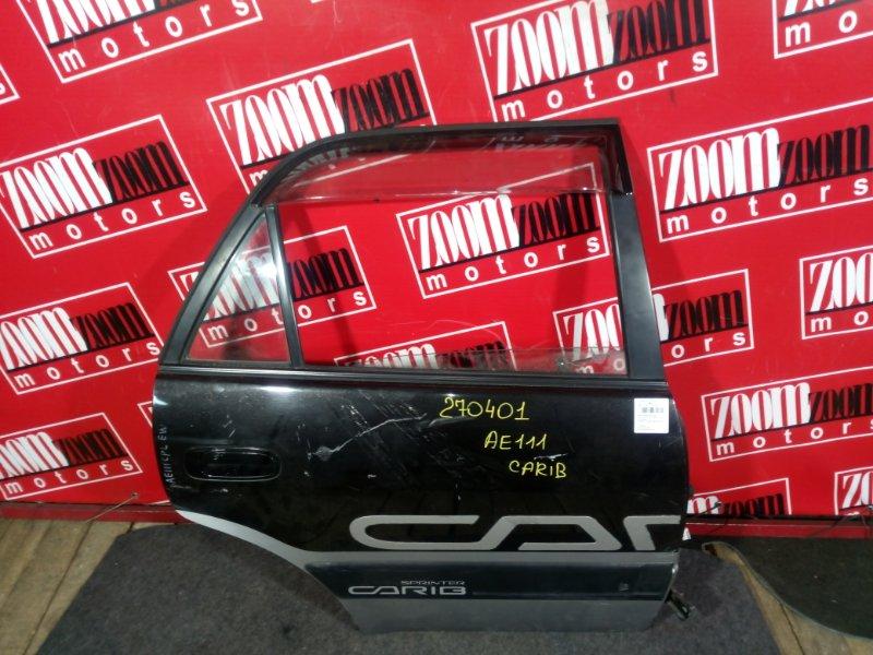 Дверь боковая Toyota Sprinter Carib AE111 4A-FE 1995 задняя правая серо-черный