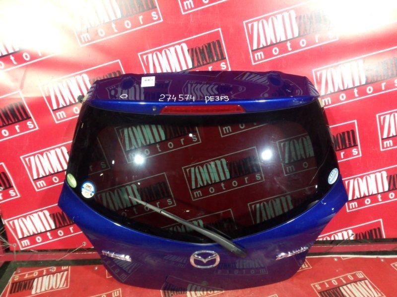 Дверь задняя багажника Mazda Demio DE3FS ZJ-VE 2007 задняя синий