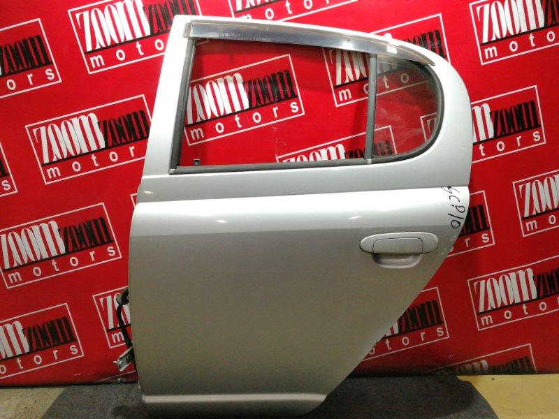 Дверь боковая Toyota Vitz SCP10 1SZ-FE 1999 задняя левая серебро