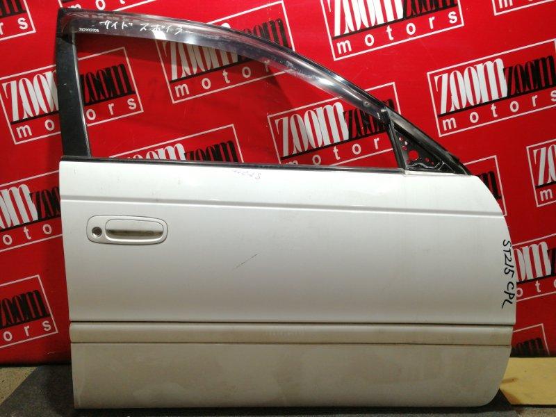 Дверь боковая Toyota Caldina ST215G 3S-FE 1997 передняя правая белый