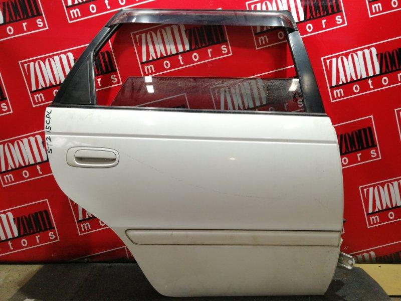 Дверь боковая Toyota Caldina ST215G 3S-FE 1997 задняя правая белый