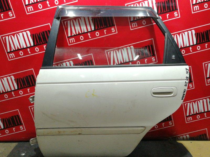 Дверь боковая Toyota Caldina ST215G 3S-FE 1997 задняя левая белый перламутр