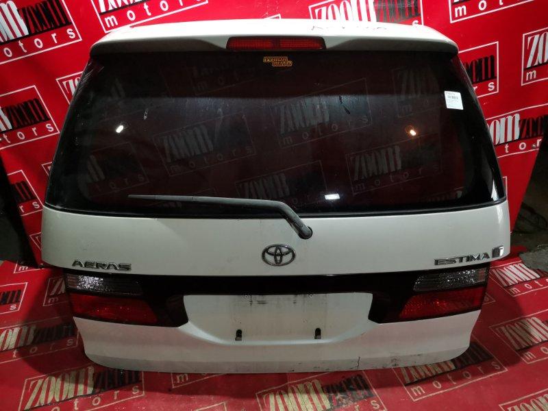 Дверь задняя багажника Toyota Estima ACR30 1AZ-FE 2001 задняя белый перламутр