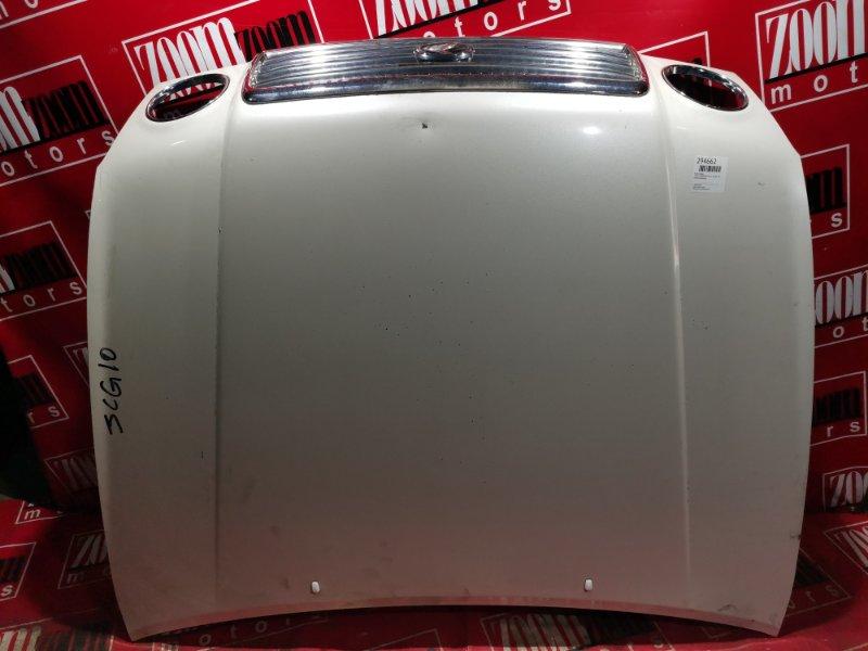 Капот Toyota Progres JCG10 1JZ-GE 1998 передний белый перламутр