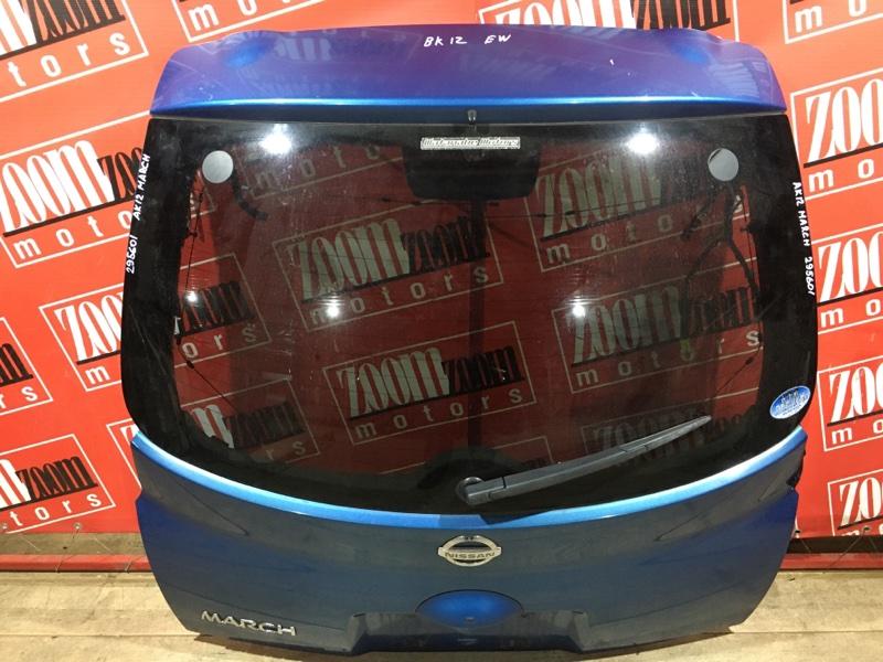 Дверь задняя багажника Nissan March AK12 CR12DE 2002 задняя синий